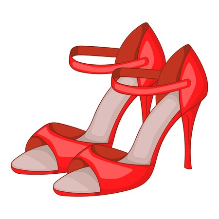 Red woman tango high heels icon, cartoon style
