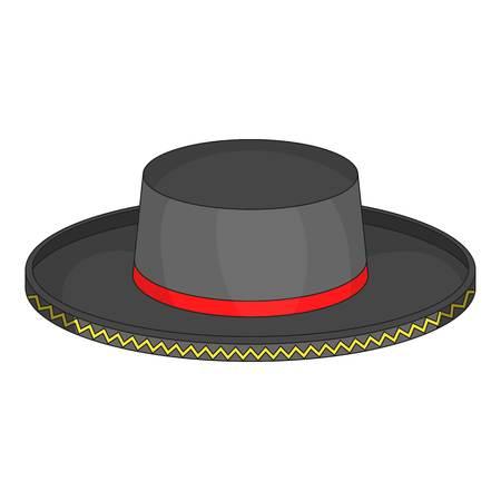 fedora: Black man fedora hat icon, cartoon style Illustration