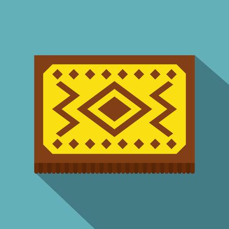kilim: Yellow Turkish carpet icon, flat style