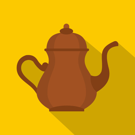 middle eastern food: Oriental turkish kettle for tea icon, flat style