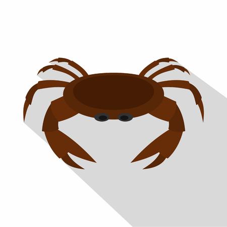 Edible brown crab icon, flat style