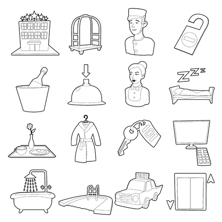 keycard: Hotel items set, cartoon style