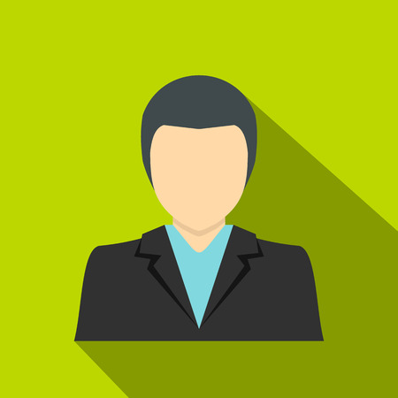Young dark haired man in a suit icon, flat style