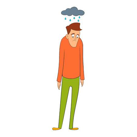 bad weather: Depressed man with cloud over his head icon. Cartoon illustration of depressed man vector icon for web design