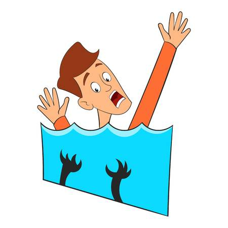 Fear of water icon. Cartoon illustration of fear of water vector icon for web design