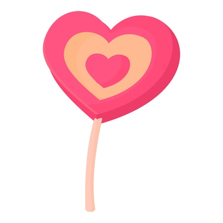 Lollipop heart icon. Cartoon illustration of lollipop heart vector icon for web