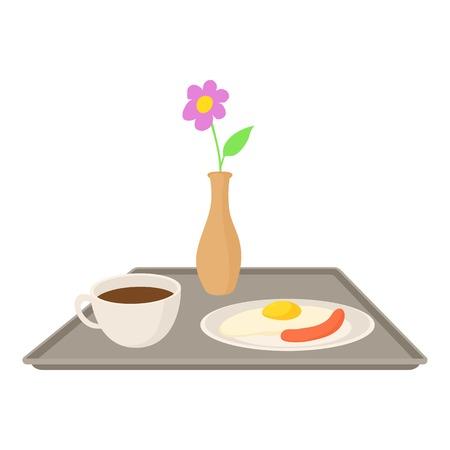 Prima colazione in icona letto. Illustrazione del fumetto di colazione in icona letto vettoriale per il web