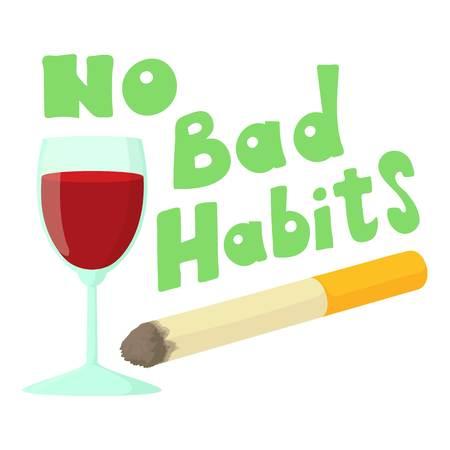 malos habitos: Sin malos hábitos vino y cigarrillos icono. Ilustración de dibujos animados de ningún icono vector de malos hábitos vino y cigarrillos para la web
