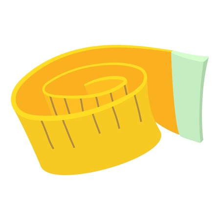 millimeters: Measuring tape icon. Cartoon illustration of measuring tape vector icon for web