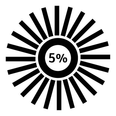Five percent download icon. Simple illustration of five percent download vector icon for web