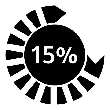 fifteen: Fifteen percent download circle icon. Simple illustration of fifteen percent download circle vector icon for web Illustration