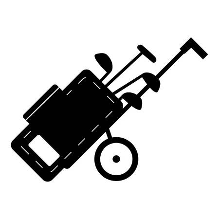 recreational: Cart for golf clubs icon. Simple illustration of cart for golf clubs vector icon for web