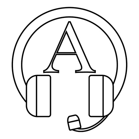 talking dictionary: Language learning in headphonese icon. Outline illustration of language learning in headphones vector icon for web Illustration