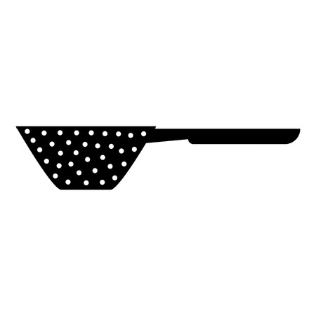 drainer: Colander with handle icon. Simple illustration of colander with handle vector icon for web Illustration