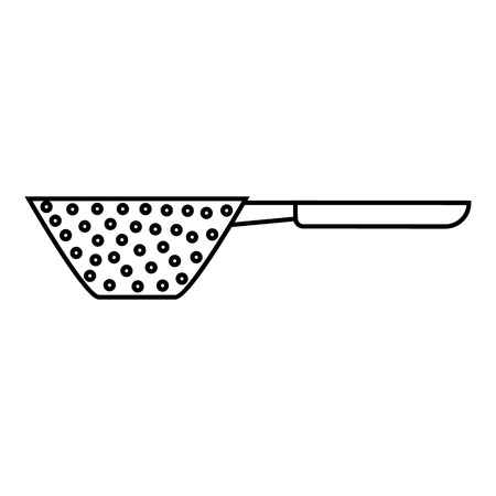 drainer: Colander with handle icon. Outline illustration of colander with handle vector icon for web Illustration