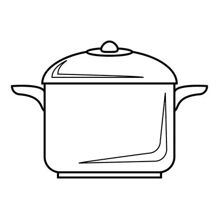 steam cooker: Pan for cooking icon. Outline illustration of pan for cooking vector icon for web
