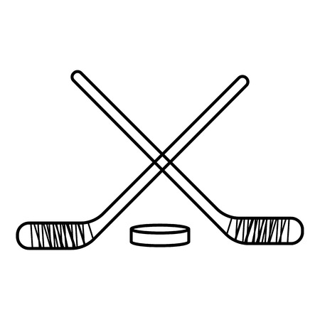 puck: Hockey sticks with puck icon. Outline illustration of hockey sticks with puck vector icon for web