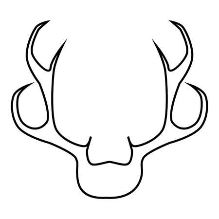 horny: Deer antler icon, outline style Illustration