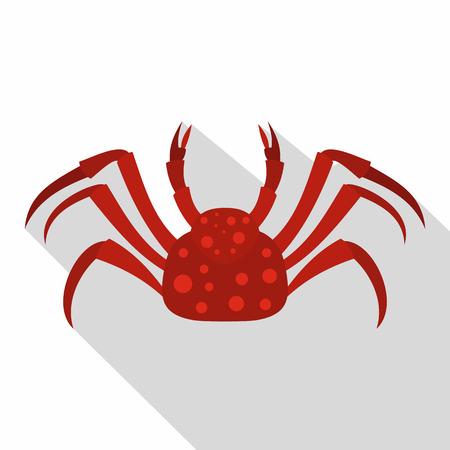 Red Alaska crab icon, flat style