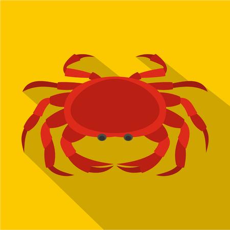 Big red crab icon, flat style Illustration