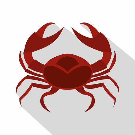 Red sea crab icon, flat style Illustration