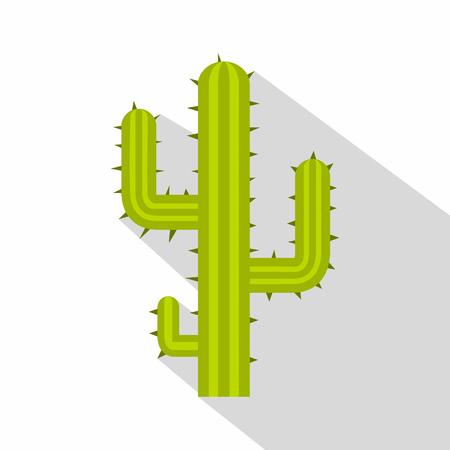 Green cactus icon, flat style Illustration