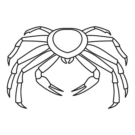 Crab icon, outline style Illustration