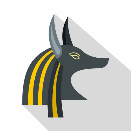 antiquities: Anubis head icon, flat style Illustration