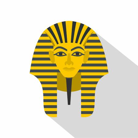 Egyptian golden pharaohs mask icon, flat style