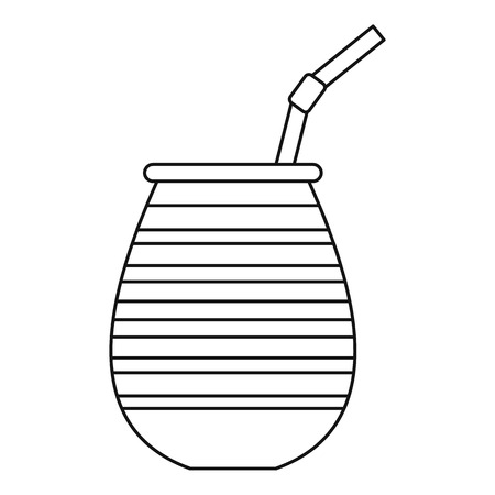 mate infusion: Tea cup called chimarrao, used for mate or terere icon. Outline illustration of tea cup called chimarrao, used for mate or terere vector icon for web