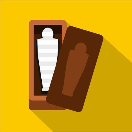 tutankhamen: Sarcophagus of an Egyptian mummy icon, flat style Illustration