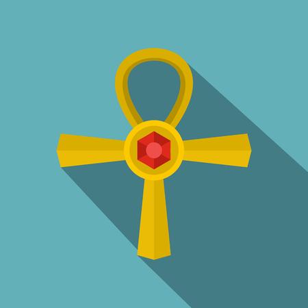 Golden Ankh symbol icon, flat style Illustration