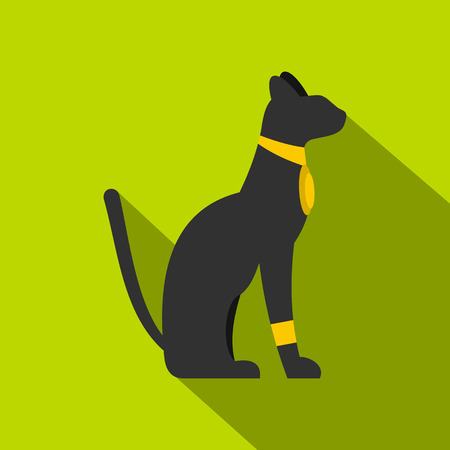 Black sitting Egyptian cat icon, flat style