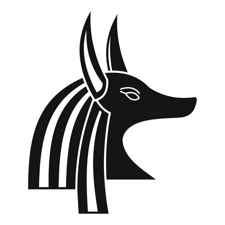 antiquities: Ancient egyptian god Anubis icon, simple style