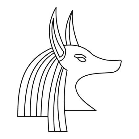 antiquities: Head of egyptian god Anubis icon, outline style