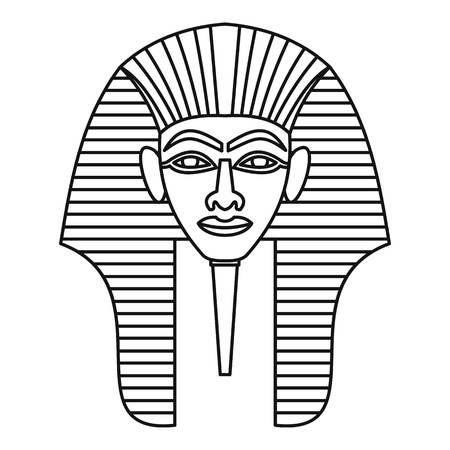 tutankhamen: Egyptian pharaohs mask icon, outline style Illustration