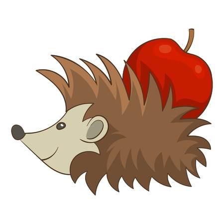 Hedgehog with apple icon. Cartoon illustration of hedgehog with apple vector icon for web design Illustration