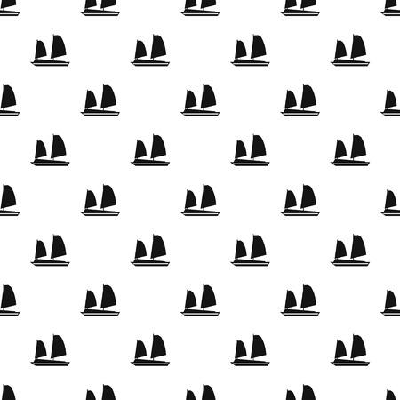 junk boat: Vietnamese junk boat pattern, simple style Illustration