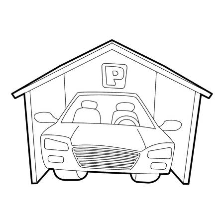 covered: Covered car parking icon, isometric 3d style