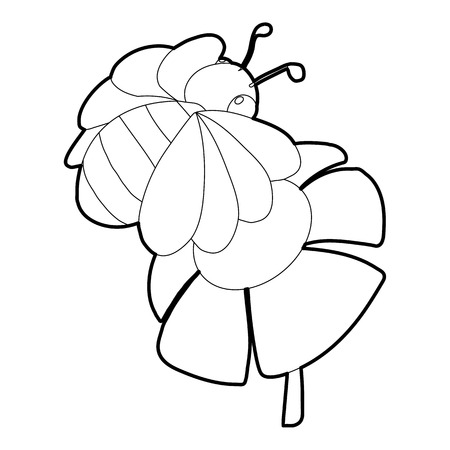 Bee on flower icon, isometric 3d style