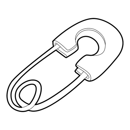 to pierce: Safety pin icon. Isometric 3d illustration of safety pin vector icon for web