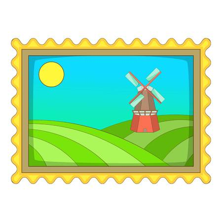 dutch girl: Picture with windmill icon, cartoon style