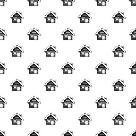 modello casa nevoso. Semplice illustrazione di neve modello casa vettoriale per il web