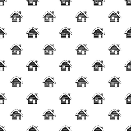 Snowy house pattern. Simple illustration of snowy house vector pattern for web