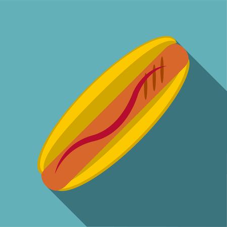 Hot dog icon, flat style