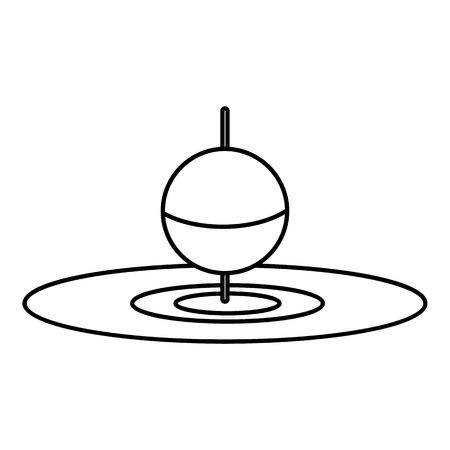 floating: Small floating bobber icon. Outline illustration of small floating bobber vector icon for web Illustration