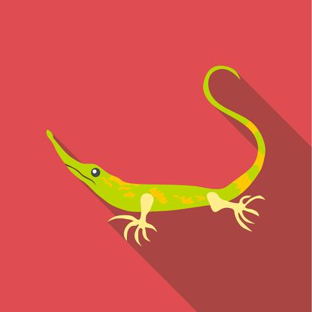 Little green lizard icon. Flat illustration of little green lizard vector icon for web