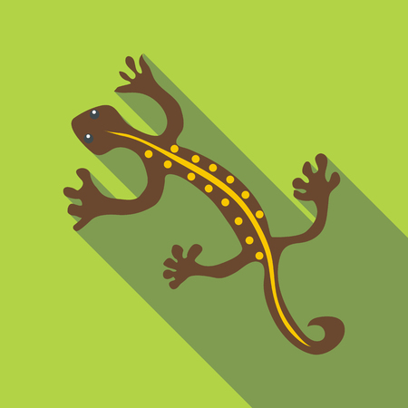 stripped: Brown lizard icon. Flat illustration of brown lizard vector icon for web Illustration