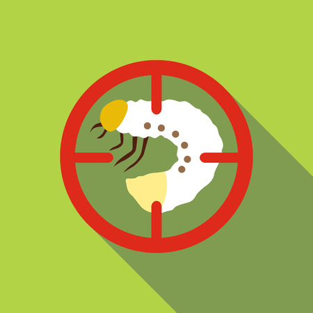 White larva icon. Flat illustration of white larva vector icon for web