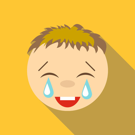 Laughter to tears icon. Flat illustration of laughter to tears vector icon for web Illustration